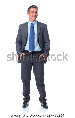 Handsome businessman isolated over white background. - stock photo