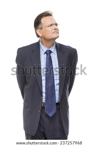 Handsome Businessman Looking Up and Over Isolated on a White Background. - stock photo