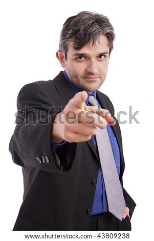 Handsome  businessman pointing finger at viewer. - stock photo