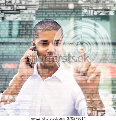 Handsome businessman pointing finger to camera and clicking virtual button, finger is out of focus while his face is in focus. Shallow depth of field. - stock photo