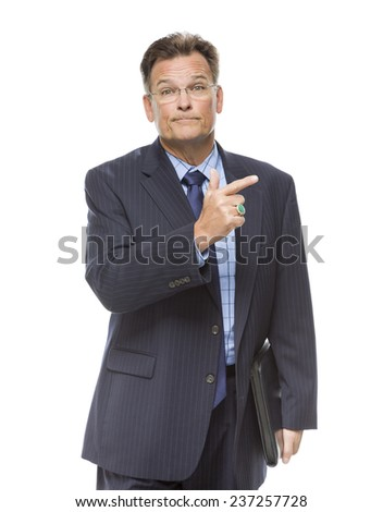 Handsome Businessman Pointing to the Side Isolated on a White Background. - stock photo