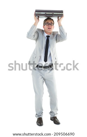 Handsome businessman sheltering with briefcase on white background