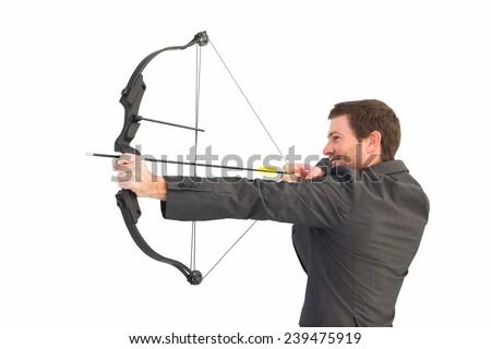 Handsome Businessman Shooting Bow Arrow On Stock Photo 239475919 ...