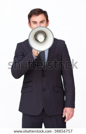 Handsome businessman shouting through a megaphone agaisnt white - stock photo