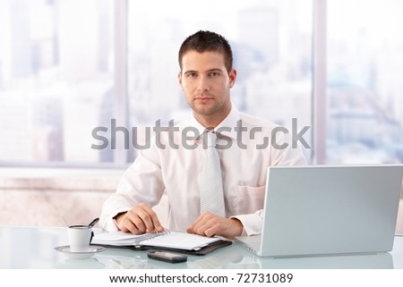Handsome businessman sitting at desk in bright office, having laptop and organizer.?