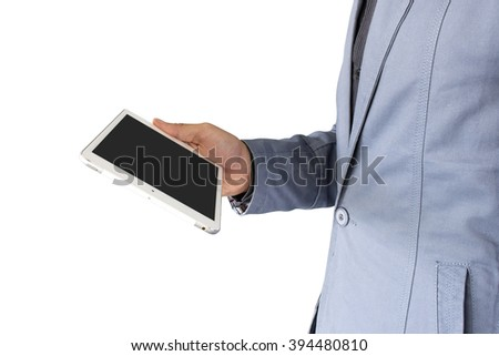 Handsome businessman with tablet computer on white background, clipping path [selective focus] - stock photo