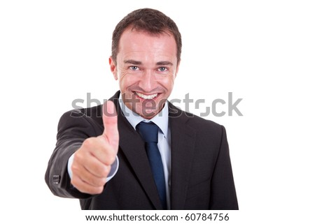 handsome businessman with thumb raised as a sign of success, isolated on white background. studio shot