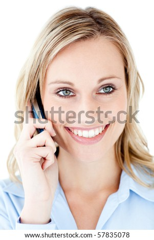 Handsome businesswoman using a mobile phone isolated on a white background
