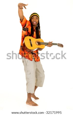 Handsome Caribbean, humorous African American  Rasta reggae guy with guitar.  Studio, white background - stock photo