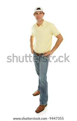 Handsome casual college aged male.  Full body isolated on white.