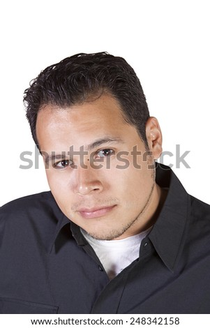 Handsome Casual Hispanic Man - Isolated background - stock photo