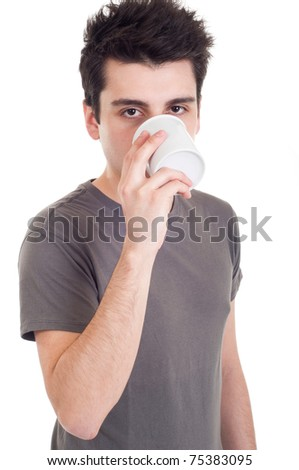 handsome casual man drinking coffee/tea mug (isolated on white background)