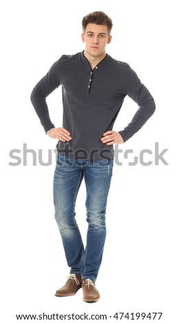 Handsome casual man isolated over a white