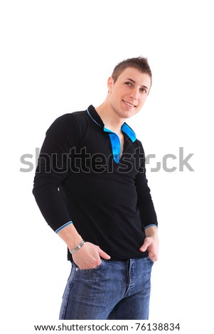 Handsome casual man - isolated over white background