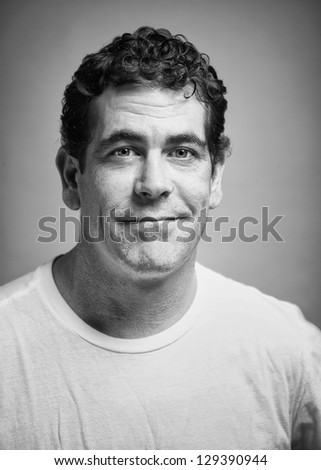 Handsome casual man portrait black and white - stock photo