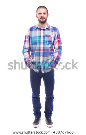 Handsome casual man posing on white background