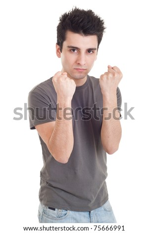 handsome casual man with fight expression isolated on white background
