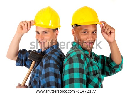 Handsome Caucasian and african American young sexy construction workers with tools and safety helmet. studio shot,  white background