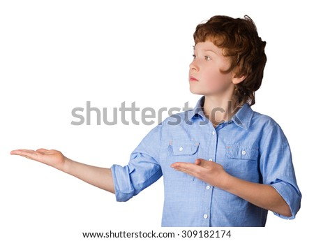 Handsome caucasian boy with red hair with his hands. Isolated on white background - stock photo