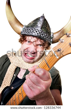 Handsome Caucasian male with guitar over white background - stock photo