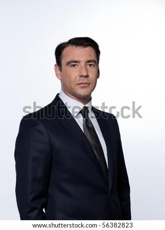handsome caucasian man smiling portrait isolated studio on white backgroun - stock photo