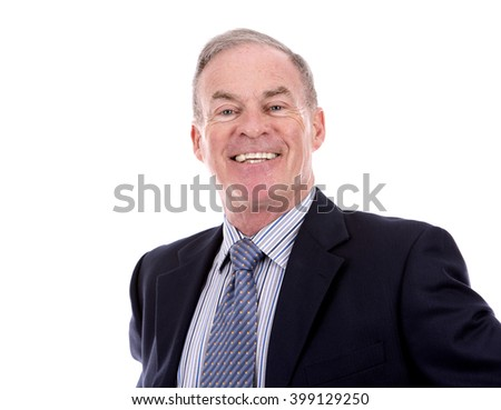 handsome caucasian man wearing business suit on white background - stock photo