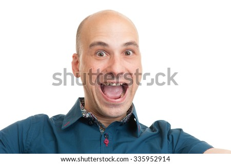 handsome cheerful bald man isolated on white background - stock photo