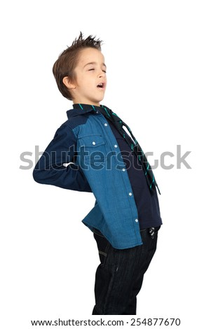 Handsome child doing different expressions in different sets of clothes: backache - stock photo