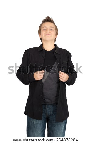 Handsome child doing different expressions in different sets of clothes: smile - stock photo