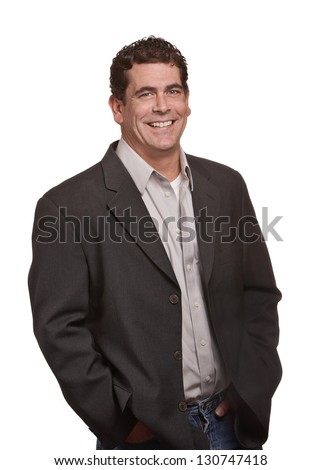 Handsome confident man isolated on white background - stock photo