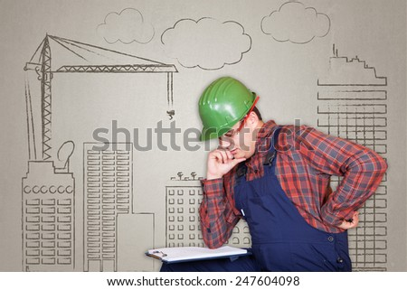 Handsome construction worker specialist (architect) thinking on the plan on building operation drawn background - stock photo
