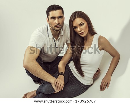 Handsome couple posing
