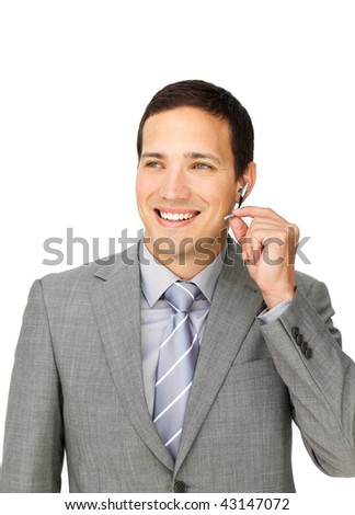 Handsome customer service representative using headset isolated on a white background - stock photo