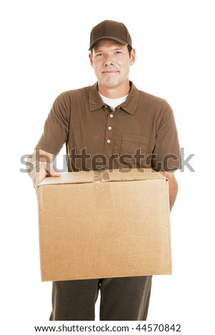 Handsome delivery man carrying a package for you.  Isolated on white. - stock photo