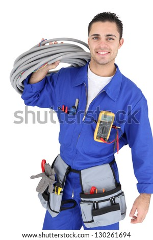 Handsome electrician - stock photo