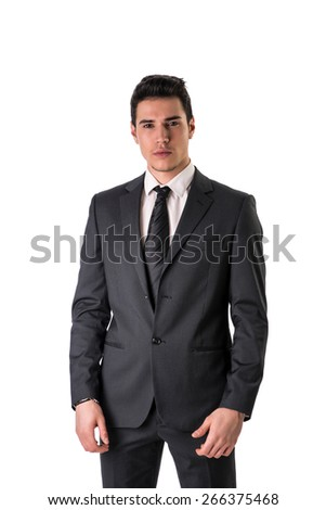 Handsome elegant young man with suit and neck-tie, isolated on white, looking at camera