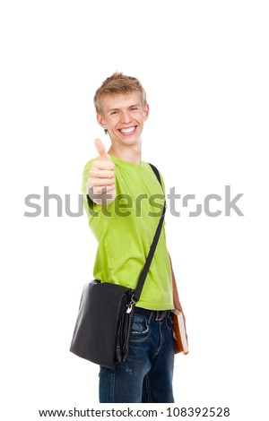 handsome excited man happy smile show thumb up gesture at you, young guy wear green t shirt school bag, white teeth, isolated over white background - stock photo