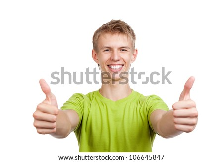 handsome excited man happy smile show thumb up gesture at you, young guy wear green t shirt, white teeth, isolated over white background