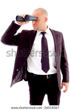 handsome executive looking through binocular against white background - stock photo