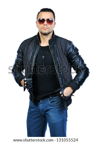 Handsome fashion man wearing sunglas - stock photo
