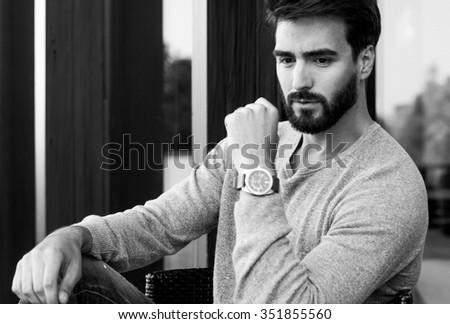 handsome fashionable man - stock photo
