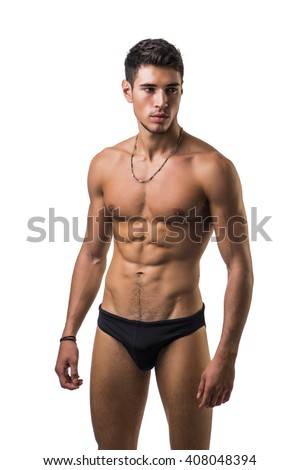 Handsome, fit young man in underwear isolated on white - stock photo