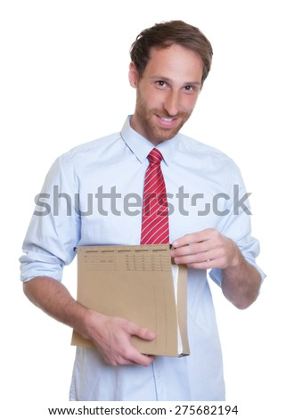 Handsome german businessman with file - stock photo