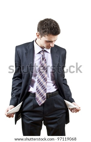 handsome guy collapsed on a white background - stock photo