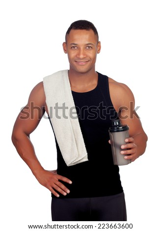 Handsome guy drinking protein after training isolated on white background - stock photo