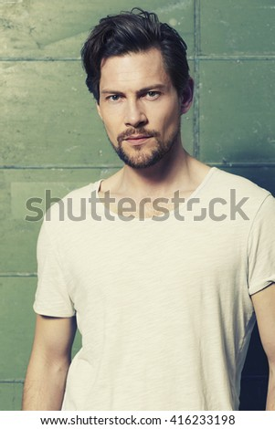 Handsome guy in t-shirt, portrait