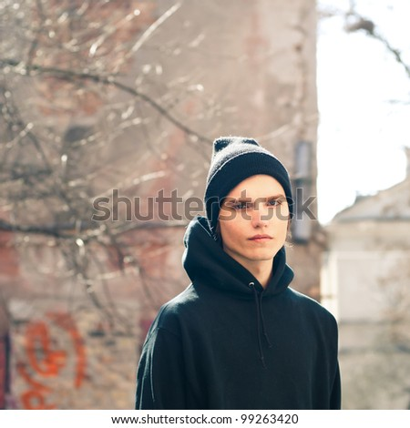 handsome guy on the street - stock photo