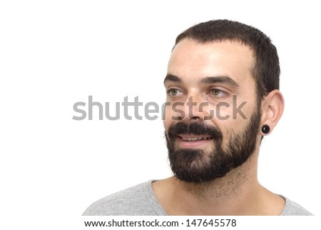 Handsome guy with beard and gray shirt on white background