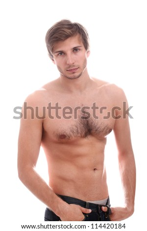 Handsome guy with naked torso over white background - stock photo