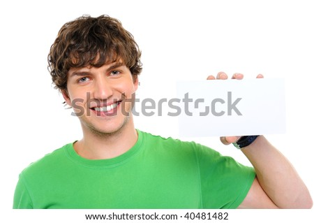 Handsome happy casual man holding the blank card - stock photo